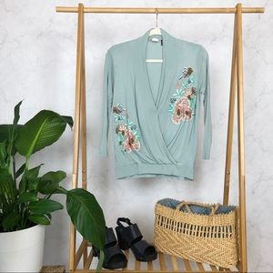 Anthropologie Blue Embroidered Beaded Wrap Blouse